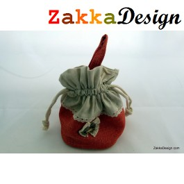 ZakkaDesign: Drawstring square Base accessories pouch bag with hand strap - Red