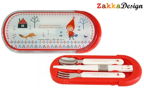 Shinzi Katoh 3-pieces Chopstick, Fork and Spoon Set - Red Hood Design