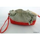 ZakkaDesign: Make-up Hand Pouch Bag with inner side zipper pocket - Red