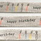 Shinzi Katoh Linen Tape: Happy Birthday (12mm) Design